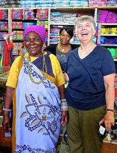 Martha with Shangaan woman dressed in her minchecka while visiting the African fabric store. African Fabric Store, Africa People, African Textiles, Fabric Shop, Textile Artists, African Fashion, Casual Outfits, Culture, Quilts