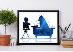 Baby and dog, Baby room wall art, Pets, Husky in bathtub, Dog watercolor print, Nursery decor, Baby chair, Bathroom decor, Instant download Baby Girl Headbands, Baby Girl Gifts, Creative Gifts, Creative Ideas, Baby Room Wall Art, Baby Chair, Dog Baby, Beauty In Art, Talent Management