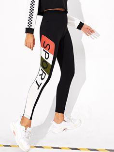 Sporty Regular Letter and Colorblock Black Cropped Length Color Block Letter Print Leggings Mesh Yoga Leggings, Camouflage Leggings, Leggings Sale, Sports Leggings, Printed Leggings, Mode Des Leggings, Justice Leggings, Gothic Leggings, Black And White Shorts