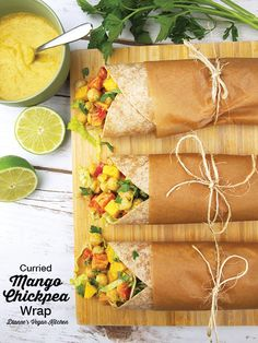 Vegan Curried Mango Chickpea Wrap from The Plant-Based Diet Meal Plan >> Dianne's Vegan Kitchen