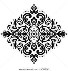 Damask  floral light pattern with arabesque and oriental black elements. Abstract traditional ornament for wallpapers and backgrounds