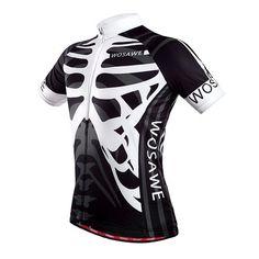 WOSAWE Men's Quick Dry Skeleton Cycling Sports Jersey [Sz S/M/L/XL/XXL]