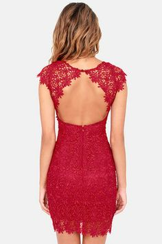 Rubber Ducky Suite Life Backless Wine Red Lace Dress
