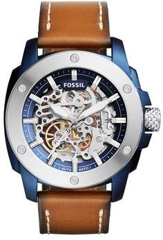 Fossil Machine Skeleton Leather Strap Watch, 45Mm