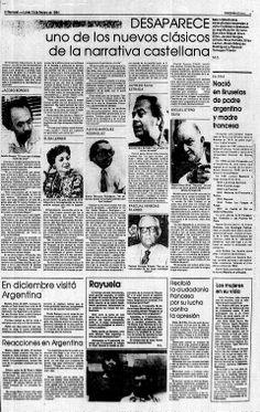 Reacción de intelectuales venezolanos ante la noticia de la muerte de Julio Cortázar. Publicado el 13 de febrero de 1984.