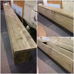 Rustic reclaimed wood bench made from scaffold boards which have been cleaned, sanded and treated with wax, giving the bench a protection and a soft sheen finish. This bench has storage with 3 separate lids for ease of access.  A heavy and solid piece of furniture which has lots of character, please bear in mind reclaimed wood is used and there may be signs of previous life such as dents and scuffs or as we like to call it patina. Measurements Length 221cm Height 43cm Width 23cm Price £165
