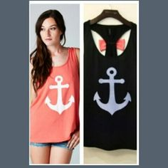 New womens top New anchor and bow tank med fits like small Tops Tank Tops