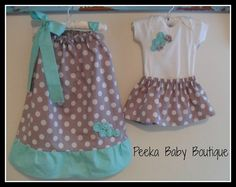 Coordinating Sister Outfits with Pillowcase Dress and Skirt Outfit (Grey Polka Dot with Mint accents)