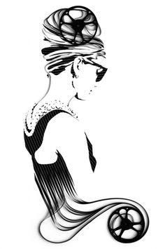 Audrey Hepburn | Recycled 8mm film on canvas (via)