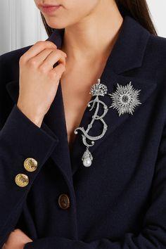 Balenciaga   Palladium-tone, cubic zirconia and Swarovski pearl brooch…