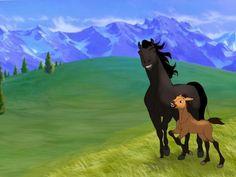 Strider and a young Spirit Spirit Horse Movie, Spirit The Horse, Spirit And Rain, Anime Animals, Cute Animals, Spirit Drawing, Disney Horses, Geek Charming, Kiger Mustang
