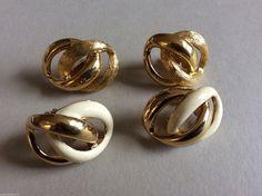 Lot of 2 NAPIER gold & silver tone metal & enamel clip on earrings - Earrings