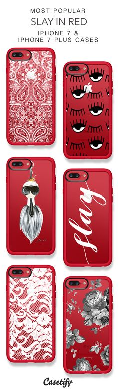Most popular slay in red protective iphone 7 cases and iphone 7 plus cases. Cute Cases, Cute Phone Cases, Iphone 7 Plus Cases, Iphone 8, Accessoires Iphone, Iphone Accessories, Phone Covers, Ipad Case, Just In Case