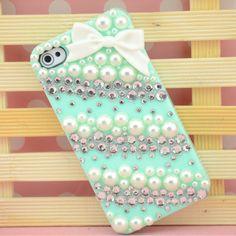 Cute Pearl Rhinestone Striped iPhone 4 Case, iPhone 5 Case, custom iphone 5 case, iphone cover case skin iphone cases