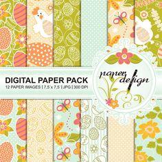 easter digital paper pack Printable Backgrounds Bunny von Stilboxx