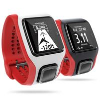 TomTom Runner Cardio - GPS Watch with Built-In Heart Rate Monitor (White/Red) --> pretty snazzy