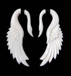 Sale! Fake Gauges, Handmade, Bone Earrings, Cheaters, Organic, Plugs, Split, Tribal Style - Yafah Swans Bone