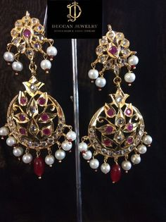 Ready to ship earrings made using pearls , polki and gold plating delivered in business days within USA days worldwide Spoon Jewelry, Ruby Jewelry, Ear Jewelry, Turquoise Jewelry, Jewelry Gifts, Jewelery, Antique Jewellery Designs, Gold Earrings Designs, Jewelry Design