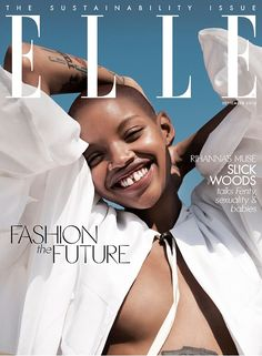 Slick Woods pregnant & glowing for Elle magazine, September issue