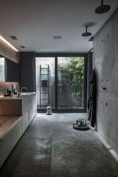 Badezimmer aus Beton #bathroom #badezimmer #interiordesign #einrichtungsideen