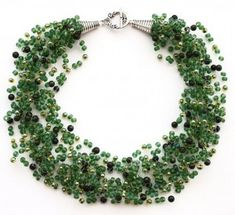 How to crochet a necklace with beading line