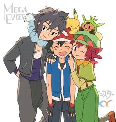 Ash Ketchum and Pikachu with Alain and Maron ♡ I give good credit to whoever made this