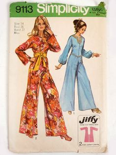 Vintage 70s Sewing Pattern  9113 Mod Disco Jumpsuit