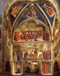 """Domenico Ghirlandaio (1449-1494) ~ In this multiple scene, the """"Adoration of the Shepherds"""" can be seen in the lower center of the Altar. The top center image is """"The Confirmation of the Franciscan Rule"""". The kneeling figure in the red robe is the patron, Francesco Sassetti ~ Sassetti Chapel, Altar, Florence"""
