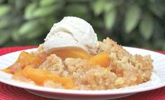 This peach crisp recipe can be made with either fresh or frozen peaches. The topping is a crumbly mixture of flour, brown sugar, butter and finely-chopped pecans.