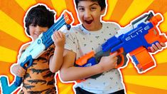 Wali and Rumi playing with Nerf guns and challenge each other. Rumi have Nerf hyperfire elite gun and Nerf fortnite gun. Wali using Zuru Xshot vigilante gun. Nerf Gun, Play Doh, Friends Family, Cool Kids, Kids Toys, Battle, Guns, Challenges, Children