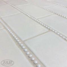 Handmade Subway Tile with Pearl Trim 3 Unique Tile Ideas For Your Bathroom Remodel – Julep Tile Company White Tile Shower, White Bathroom Tiles, Small Bathroom, Bathroom Ideas, Master Bathroom, Bathroom Styling, Shower Ideas, Neutral Bathroom, Bath Tiles