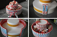 Candy Birthday Cakes, Cute Birthday Gift, Candy Cakes, Birthday Diy, Fun Crafts For Teens, Diy Crafts For Gifts, Diy Best Friend Gifts, Candy Bouquet Diy, Valentines Day Baskets