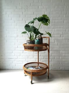 Vintage rattan table tea trolley side table small table by moovi