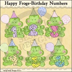 Happy Frogs Birthday Numbers 1 - Clip Art by Cheryl Seslar