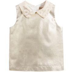 Hucklebones London Metallic Gold Blouse with Ivory Floral Collar at Childrensalon.com