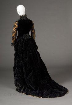 Charles Frederick Worth, Evening Gown of Black Silk Velvet & Lace. Paris, 1878.