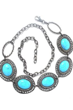 Vintage Silver Hip Belt Turquoise Conchos Chain by WhatTheBelt