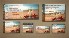 ROMANTIC BEACH WEDDING INVITATIONS BOARDING PASS TICKETS with RSVP, Stickers, Labels, Beach theme save the date and Thank You cards