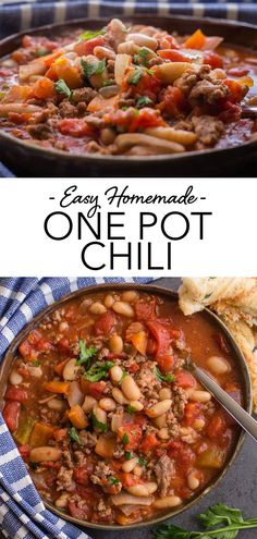 Chili is the ULTIMATE comfort food, especially in fall and winter! This Easy Homemade One Pot Chili, is the best ground beef Chili recipe.  Full of beans, meat and veggies - it's so tasty, healthy and satisfying! It's also a quick chili recipe - ready in less than an hour! #chili #onepot #onepotchili #easychili #healthychili