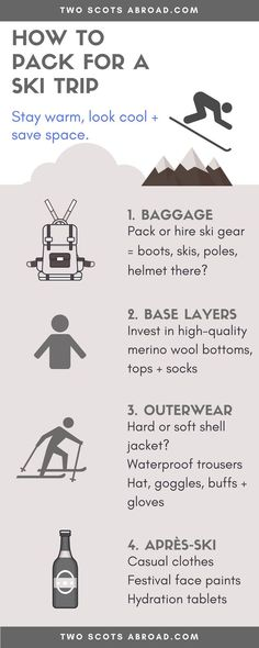 How to pack for a ski trip - Ski packing list for beginners and professional holiday-goers. Ski Trip Packing List, Holiday Packing Lists, Backpacking Tips, Vacation Trips, Ski Trips, Packing Hacks, Travel Abroad, Travel Tips, Travel Info