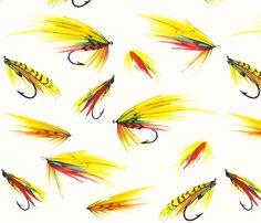 Painted Flies fabric by logan_spector on Spoonflower - custom fabric