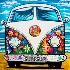 Hippie Peace, Happy Hippie, Hippie Art, Combi Hippie, Van Drawing, Bus Art, Peace Sign Art, Funky Art, Modern Art Paintings