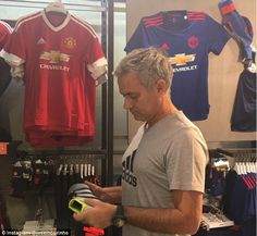 Jose Mourinho took to Instagram on Friday as he went shopping around Manchester United's megastore