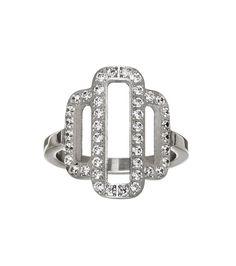 Elvira ring, stainless steel with CZ gemstones