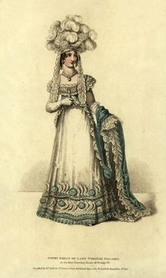 August, 1820 - La Belle Assemblée - Court Dress of Lady Worsley Holmes