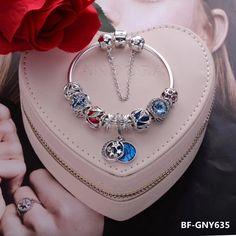 pandora bangle bracelet with 9pcs charms
