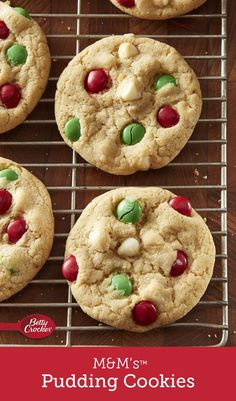 We took everyone's favorite basic M&M's™ cookie and added vanilla pudding for an easy, scratch cookie with tons of flavor — then dolled them up for Christmas with green and red M&M's™ and white chocolate chips. Köstliche Desserts, Delicious Desserts, Dessert Recipes, Yummy Food, Pudding Cookies, Chip Cookies, Yummy Cookies, Sugar Cookies, Holiday Baking