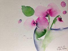 ORIGINAL AQUARELL Aquarellmalerei Bild Unikat Blumen Orchideen