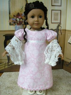 American Girl Caroline 1812 gown and lace shawl.