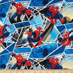 Marvel Comics Spiderman Panes Blue from @fabricdotcom  Designed by Marvel and licensed to Springs Creative Group, this cotton print is perfect for quilting, apparel and home decor accents.  Colors include white, black, grey, olive, yellow, red and blue.